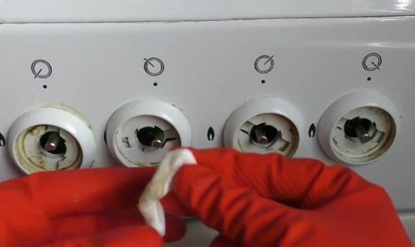 как отмыть ручки газовой плиты